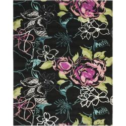 Safavieh Handmade Chatham Roses Black New Zealand Wool Rug - 8' x 10' - Thumbnail 0