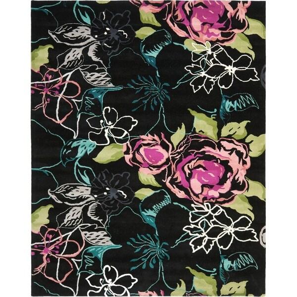 Safavieh Handmade Chatham Roses Black New Zealand Wool Rug - 8' x 10'