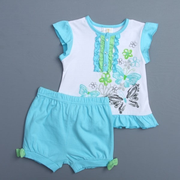 Absorba Toddler Girl's Butterfly Top and Bottom Set