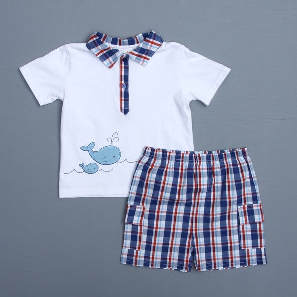 Absorba Toddler Boy's Whale Polo Shirt and Shorts
