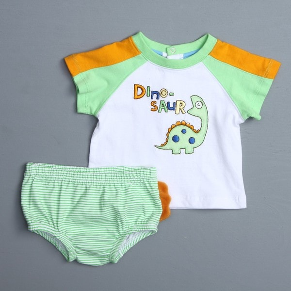 Absorba Newborn Boy's Dinosaur Tee and Striped Bottoms