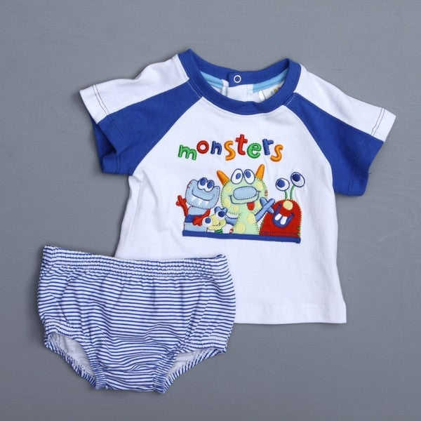 Absorba Newborn Boy's Monster Tee and Striped Bottoms