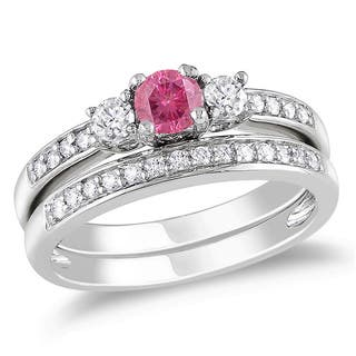 Diamond pink wedding rings for less overstock miadora 14k gold 12ct tdw pink color diamond bridal set junglespirit Gallery