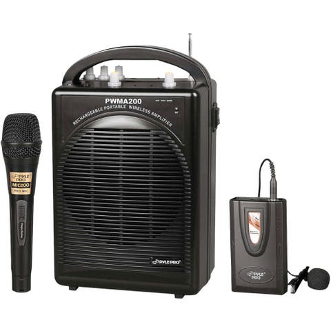 PylePro Rechargeable Portable PA System with Wireless Lavalier/Headset MIC and 1 Wired Mic