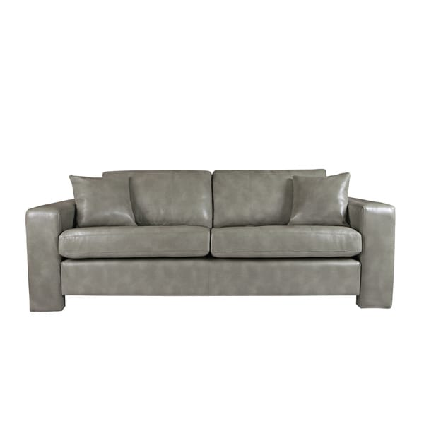 Handy Living Angelo Vintage Dove Grey Renu Leather Sofa