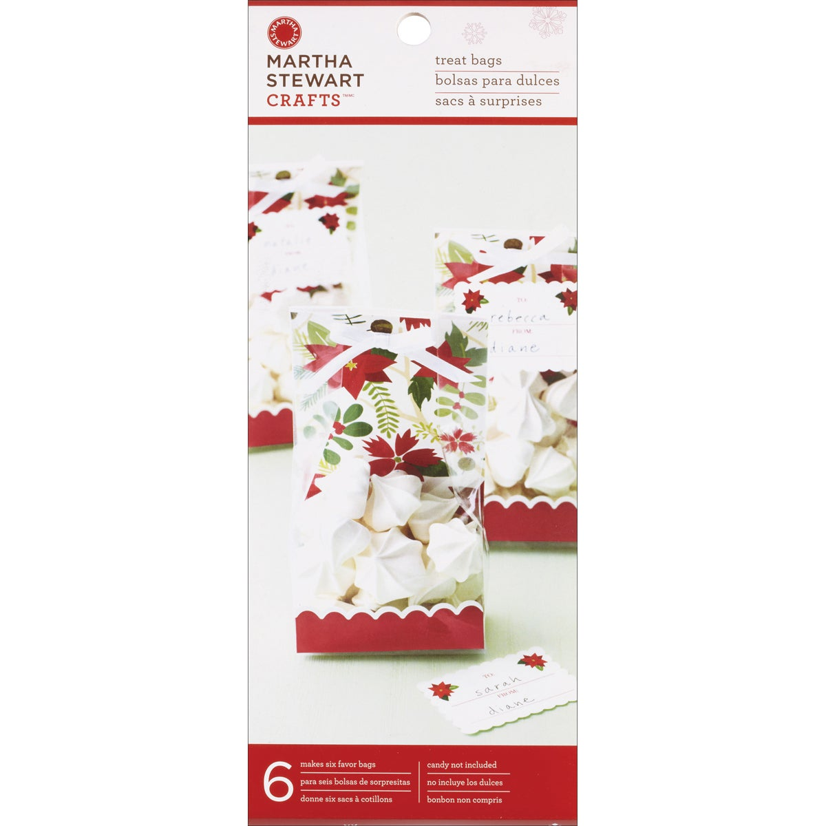 Woodland Poinsetta Cello Bags (Pack of 6)