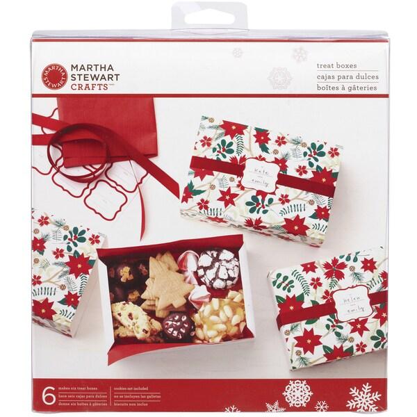 Martha Stewart Woodland Poinsettia Matchbox Treat Boxes (Pack of 6)