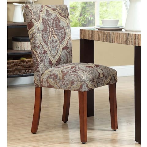 HomePop Blue and Brown Paisley Parson Chairs (Set of 2) - N/A