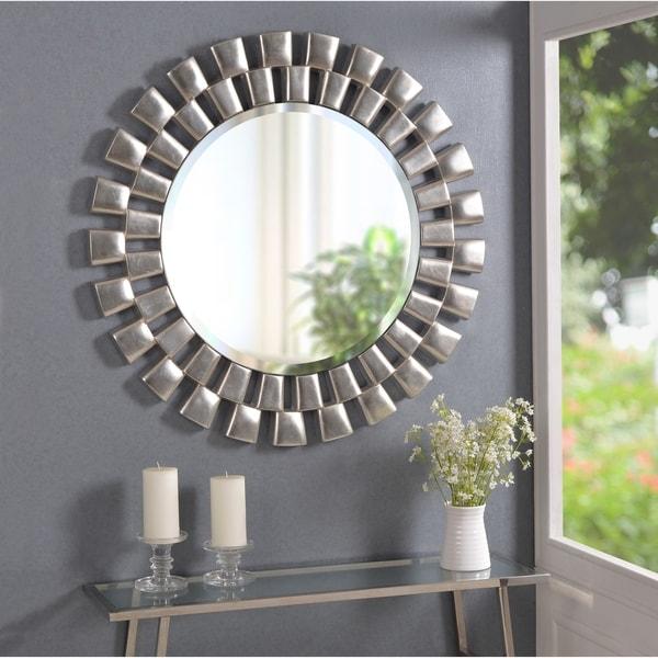 Hera 36-inch Silver Sunburst Wall Mirror