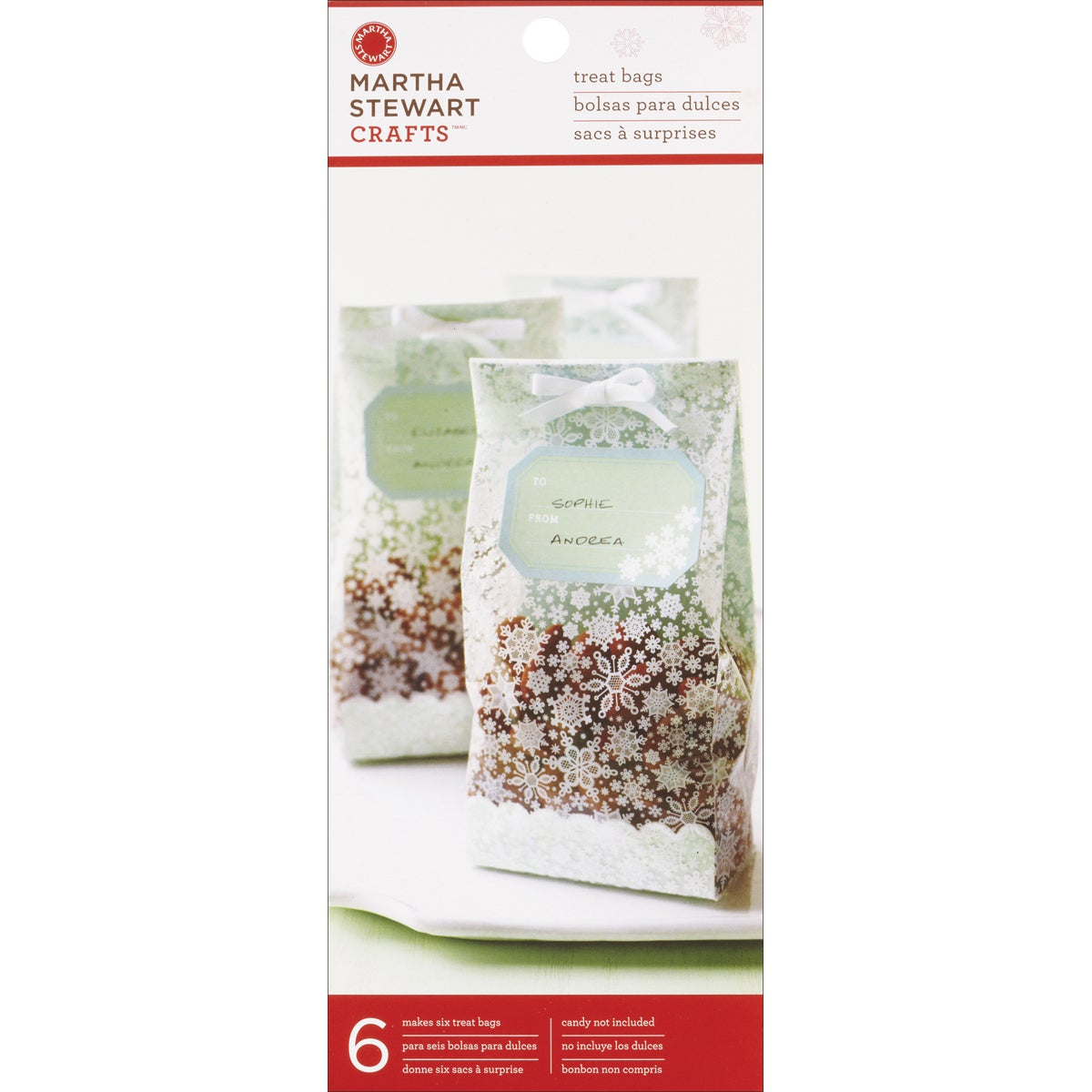 Martha Stweart Snowflake Cello Treat Bags (Pack of 6)