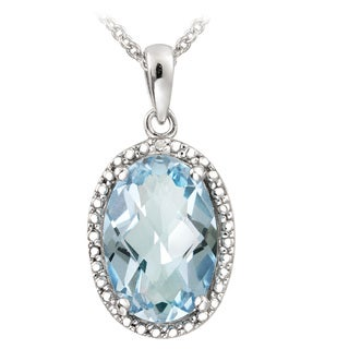 Glitzy Rocks Sterling Silver Blue Topaz and Diamond Accent Necklace (5 1/2ct TGW)