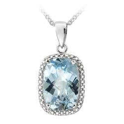 Glitzy Rocks Sterling Silver Blue Topaz and Diamond Accent Necklace (7 1/6ct TGW)