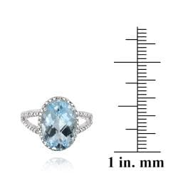 Glitzy Rocks Sterling Silver Blue Topaz and Diamond Accent Ring (5 1/2ct TGW) - Thumbnail 2