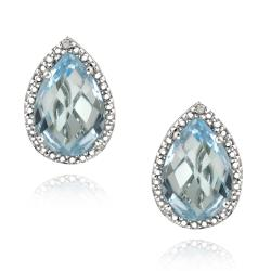 Glitzy Rocks Sterling Silver Blue Topaz and Diamond Accent Earrings (7 2/5ct TGW)