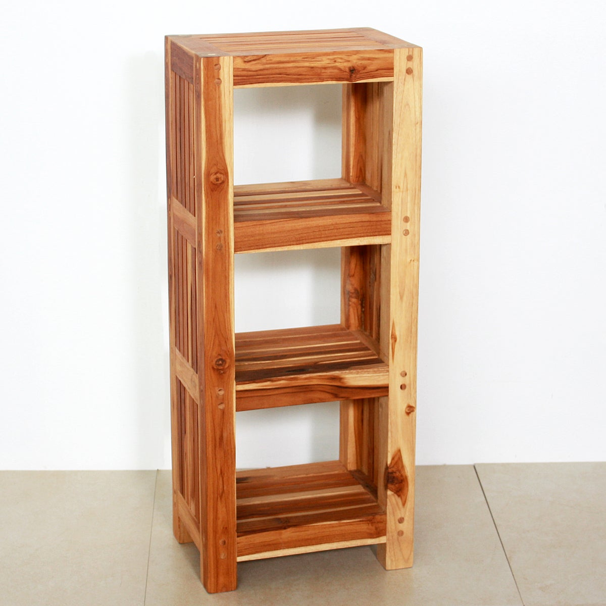 Handmade Teak Wood Shelf Tower Thailand Free