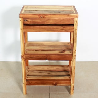 Handmade Teak Storage Shelf 18 W x 11-1/2 D x 30 in H Teak Oil (Thailand)