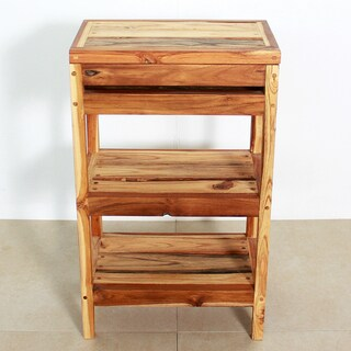 Handmade Teak Storage Shelf 18 W x 11-1/2 D x 30 in H Teak Oil (Thailand)