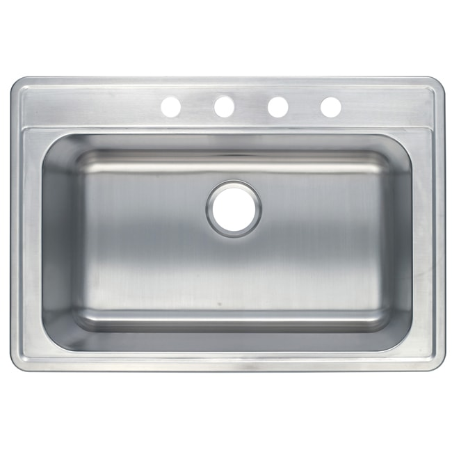 Stainless Steel 33-inch Self-rimming Surface Mount Kitchen Sink