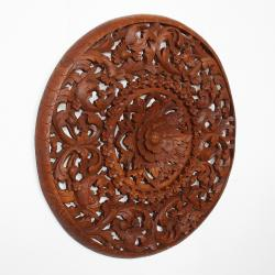 Light Recycled Teak Oil Carved Lotus Panel Wall Hanging (Thailand)