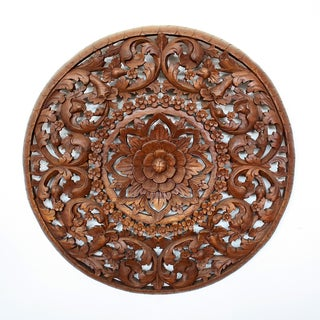 Handmade Light Recycled Teak Oil Carved Lotus Panel Wall Hanging (Thailand)