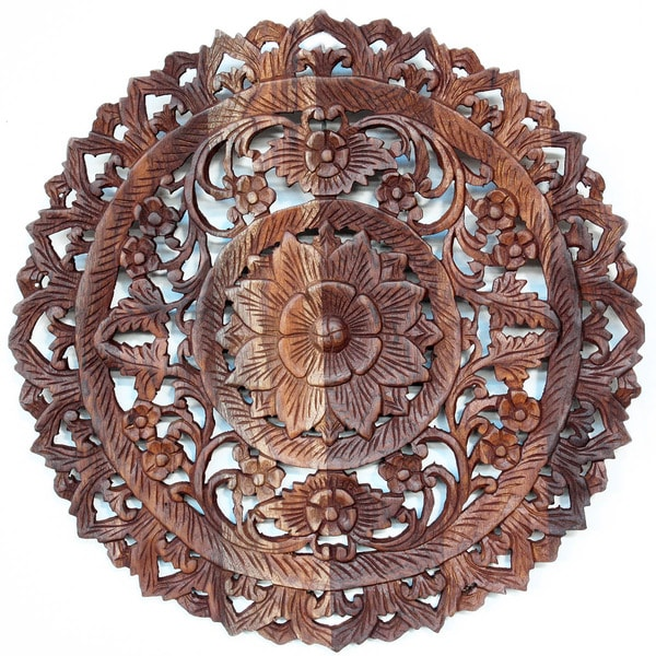 Light Teak Oil Carved Round Lotus Panel  , Handmade in Thailand