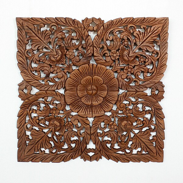 Light Teak Oil Carved Square Lotus Panel  , Handmade in Thailand
