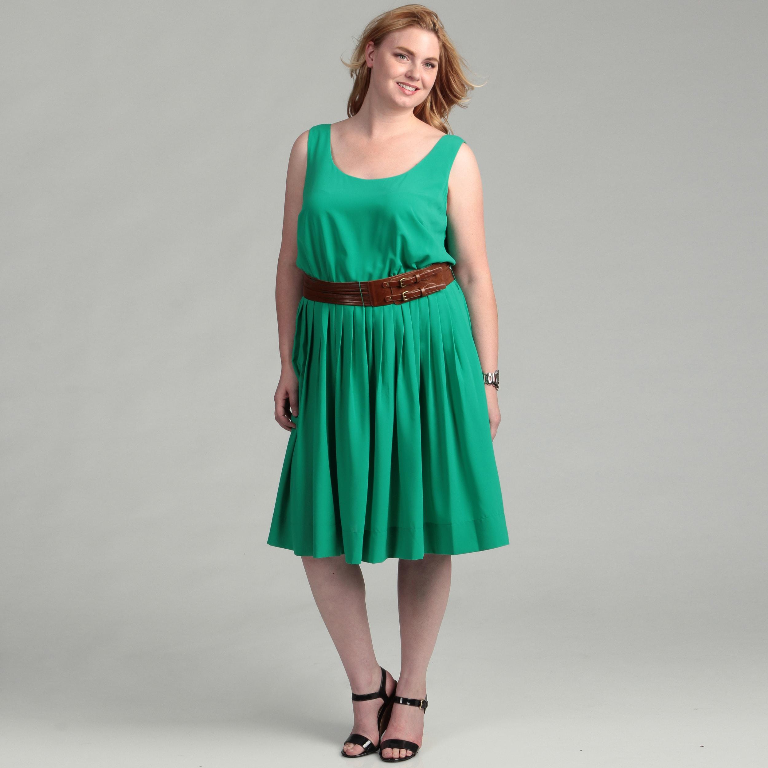 Calvin Klein Women\'s Plus Size Kelly Green Dress