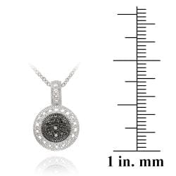 DB Designs Sterling Silver Black Diamond Accent Circle Necklace - Thumbnail 2