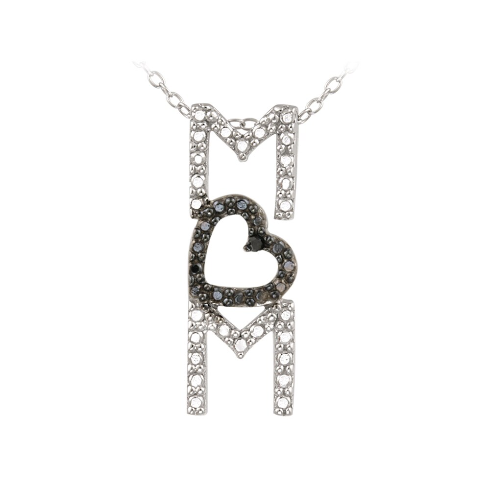 DB Designs Sterling Silver Black Diamond Accent Mom Heart Necklace