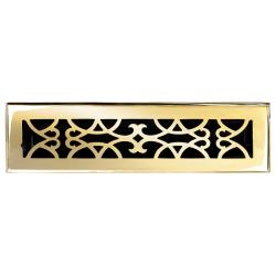 """Brass Elegans Victorian 2.25"""" x 12"""" Polished and Lacquered Brass Floor Register"""