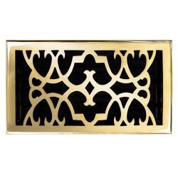 "Brass Elegans Victorian 6"" x 10"" Polished Brass Floor Register"