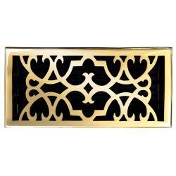 "Brass Elegans Victorian 6"" x 12"" Polished Brass Floor Register"
