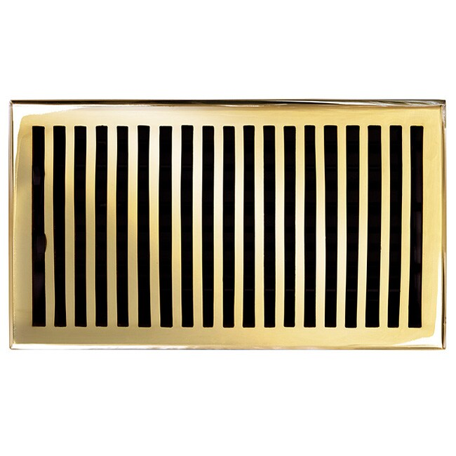 Brass Elegans Contemporary 6 x 10 Brass Floor Register (Polished and Lacquered Brass)