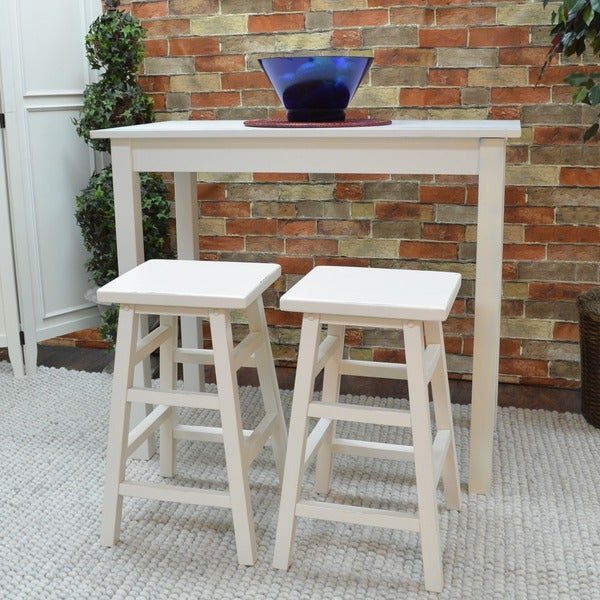 Antique White Pavina Pub Bar Table   Free Shipping Today   Overstock.com    14124135