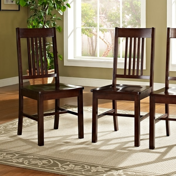 Farmhouse brown wood dining chairs set of 2 free for Dining room furniture 0 finance
