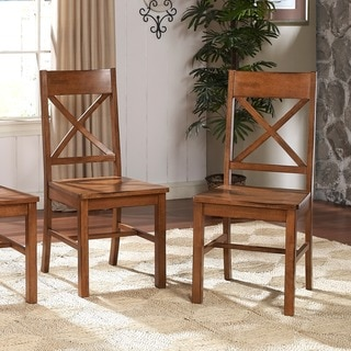 Farmhouse Chic Brown Wood Dining Chairs (Set of 2)