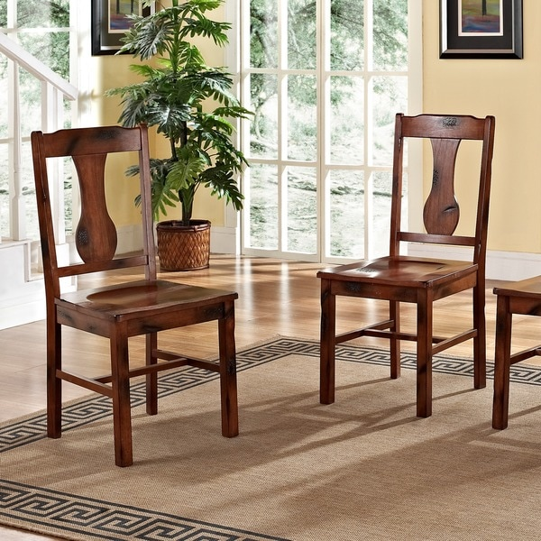 Rustic Dark Oak Wood Dining Chairs Set Of 2 Free
