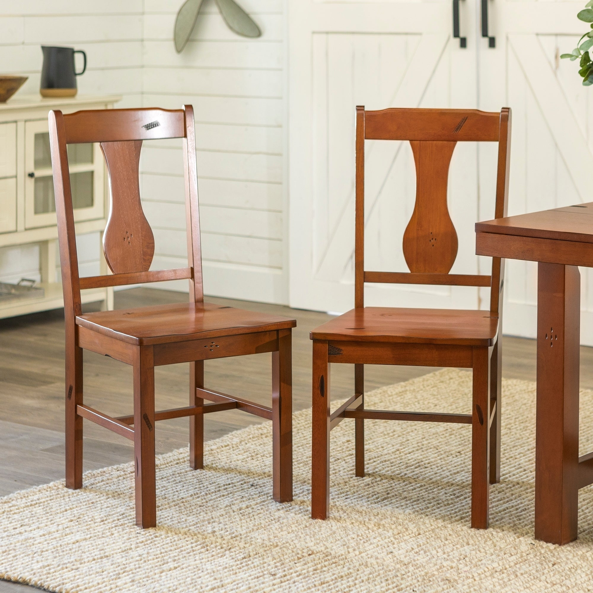 Rustic Dark Oak Wood Dining Chairs Set Of 2 N A