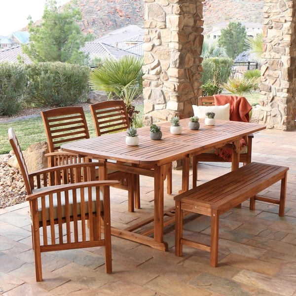 6piece Acacia Wood Patio Dining Set Free Shipping Today