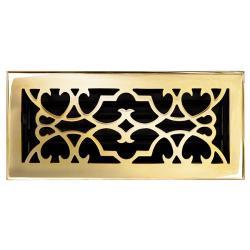 "Brass Elegans Victorian 4"" x 10"" Solid Brass Floor Register"