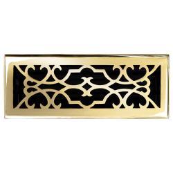 Brass-Finished Elegans Victorian 4 x 12 Brass Floor Register