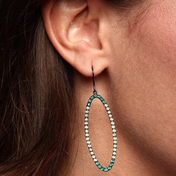 La Preciosa Sterling Silver Green Crystal Open Oval Shape Earrings