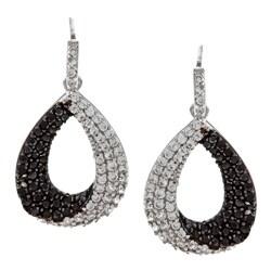 La Preciosa Sterling Silver Black and White CZ Teardrop Earrings