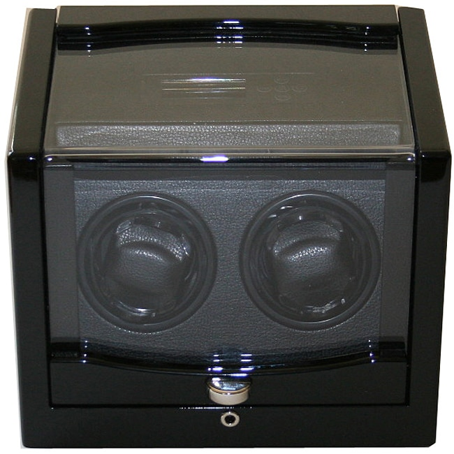 Rocket Black Finish Wood Double Watch Winder - Thumbnail 0