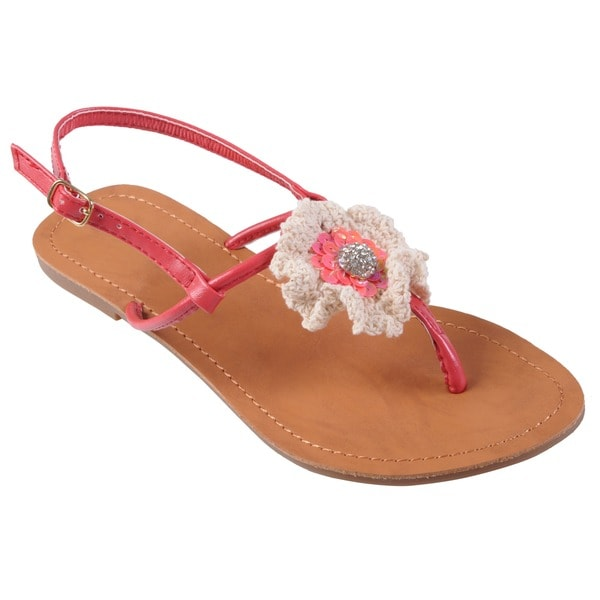 Journee Collection Women's 'Miller-1' Flower Accent T-strap Sandal