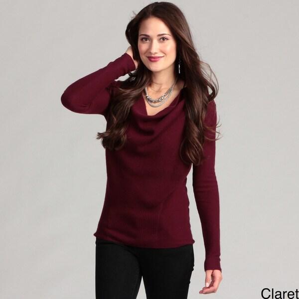 Cullen Women's Cashmere Long-sleeve Drape Neck Sweater