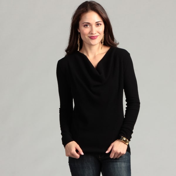 Cullen Women's Cashmere Black Long-sleeve Drape Neck Sweater