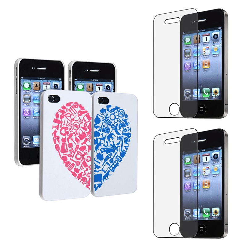 INSTEN Matching Phone Case Covers/ Screen Protector for Apple iPhone 4S (Set of 2)