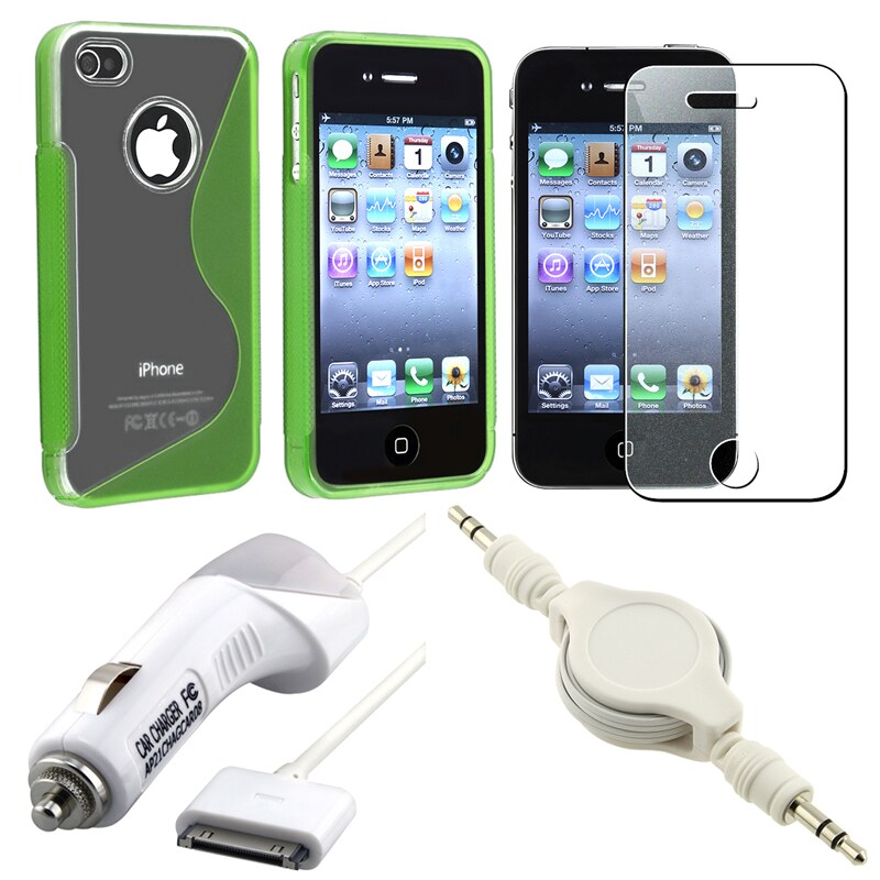 Green Case/ Screen Protector/ Charger/ Audio Cable for Apple iPhone 4S