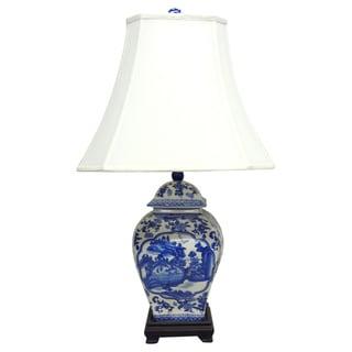 Floral Willow Square Temple Jar Blue Porcelain Lamp